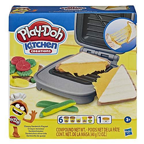 Hasbro Play-Doh - Sandwich formaggioso (Playset con 1 vasetto di Pasta da Modellare Play-Doh Elastix, 6 vasetti di Pasta da Modellare Play-doh e Accessori, Kitchen Creations).