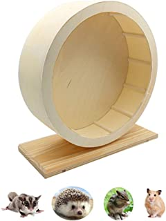Silent Hamster Exercise Wheel, Wooden Pet Gerbils Mute Spinning Playing Toy, Handmade Running Rest Nest for Chinchillas Hedgehogs Mice and Other Small Animals