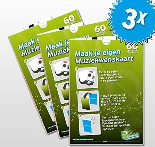 3x Maak je eigen Muziekwenskaart - 60 seconden - zelf opneembaar - spreek je eigen boodschap in - wenskaart met geluid - verjaardagskaart