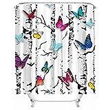 X-Labor Tier Motiv Duschvorhang Wasserdicht Stoff Anti-Schimmel inkl. 12 Duschvorhangringe Waschbar Badewannevorhang 180x200cm Schmetterling