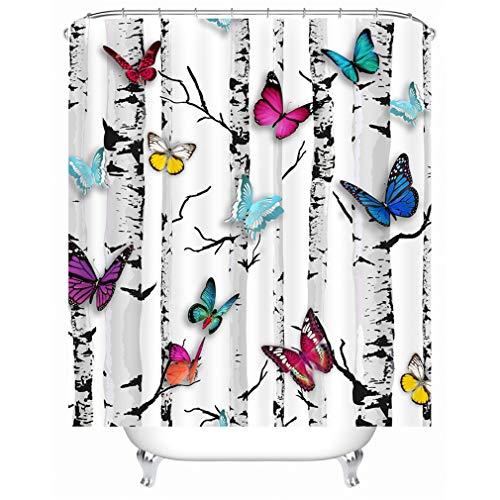 X-Labor - Cortina de ducha, diseño de animales, resistente al agua, tela antimoho, incluye 12 anillos de cortina de ducha, lavable, 240 x 200 cm, poliéster, mariposas, 240*200cm (B*H)