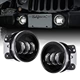 2pc 4' LED Fog Lights Replacement for Jeep Wrangler JK Unlimited [60W] [6,500K] Compatible with Jeep Wrangler 07-18 Accessories for Front Bumper Round Fog Driving Lights Cherokee Dodge Chrysler