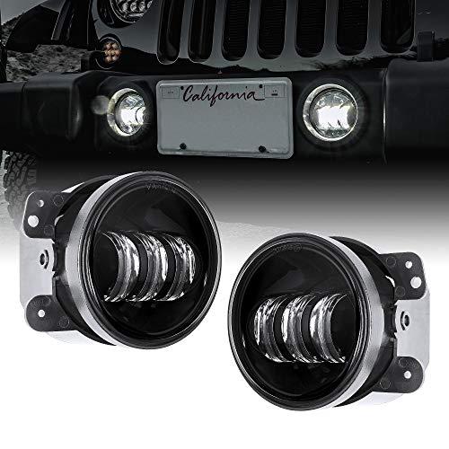 """2pc 4"""" LED Fog Lights Replacement for Jeep Wrangler JK Unlimited [60W] [6,500K] Compatible with Jeep Wrangler 07-18 Accessories for Front Bumper Round Fog Driving Lights Cherokee Dodge Chrysler"""