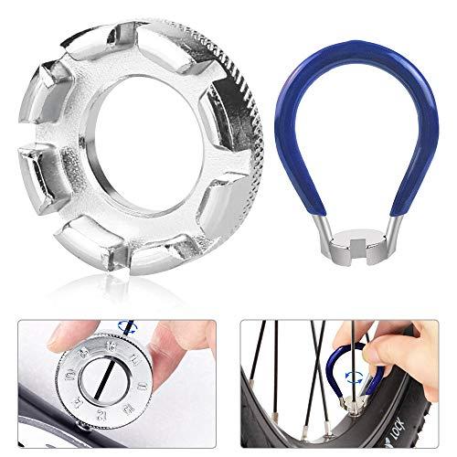 DECARETA Fahrrad Speichenschlüssel Eisen, Größe 10-15 Universal Speichenspanner für Fahrrad, Leichtes Elektrofahrzeug, Nippelspanner Speichen Werkzeug (Silber)