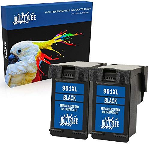 RINKLEE Wiederaufbereitete Tintenpatrone für HP 901 901XL kompatibel mit HP OfficeJet 4500 J4500 J4524 J4535 J4540 J4550 J4580 J4624 J4660 J4680 J4680c G510a G510g G510n | Schwarz, 2er-Pack