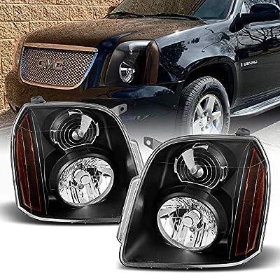 ACANII - For 2007-2014 GMC Yukon XL 1500 2500 Denali Black Headlights Headlamps Assembly Pair Set Replacement Left+Right