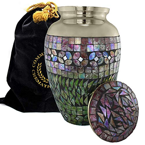 Mosaic Cracked Glass Cremation Urns for Human Ashes Adult for Funeral, Burial, Columbarium or Home, Cremation Urns for Human Ashes Adult 200 Cubic Inches, Urns for Ashes, Adult/Large