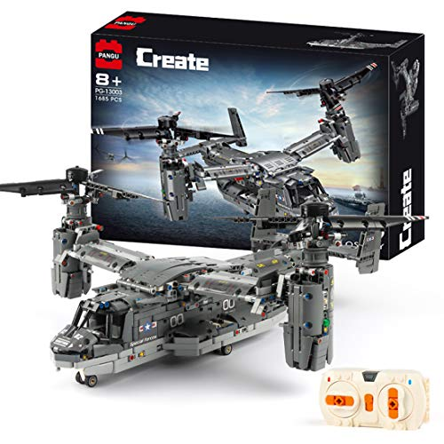 PEXL Technik V-22 Helicopter, Technology Aeroplane Remote Controlled with Remote Control and Motor, 1685 Parts Technology Clamping Blocks Helicopter Construction Set Compatible with Lego Technology