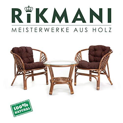 Rattan Gartenmöbel Set - Balkon Möbel - Lounge Möbel Terrasse - Ragnarök Gartenmöbel - Tisch Set - Balkonmöbel Set… (Hellbraun - Braun)