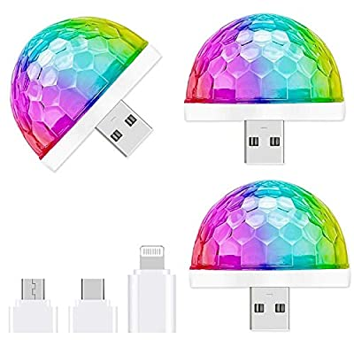USB Mini Disco Light,3 Packs,Party Lights Sound Activated, Halloween DJ Disco Stage Lights-Multi Colors LED Car Atmosphere Light,Magic Strobe Light for Xmas Parties,Pool,Club,Church,Karaoke,Wedding