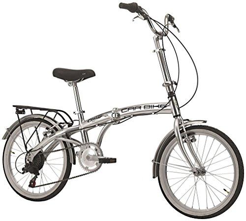 Cicli Cinzia Bicicletta 20' Citybike Carbike Alu 6/V Revo Shift V-Brake Alluminio, Argento Lucido, Uomo