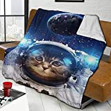 Funny Astronaut Cat Blanket Galaxy Space Cat Fuzzy Flannel Blanket,Warm Lightweight Ultra-Soft Fleece Throw Blankets for Bed Sofa Chair Living Room Bedroom 50x60 Inch