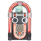 ITek I58066 XL Floorstanding Retro 50's Style Jukebox with Bluetooth/Wifi Function, Remote Control, CD Player, Turntable , FM Radio, 80w with a Black Cabinet
