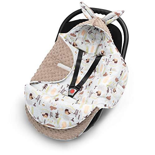 EliMeli Baby Einschlagdecke Babyschale Winter - Grau Braun Mädchen Junge Decke Universal für Autositz, Kinderwagen Buggys und Babybett, Premium Qualität - Design Minky Decke (Beige - Teddys und Igel)