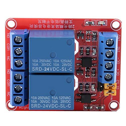 Módulo de placa de relé de disparo de nivel alto bajo de 2 canales DC 10A Relé de aislamiento de optoacoplador doble AC 250V DC 30V para control PLC(24V)