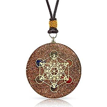 Orgone Chakra Spiritual Healing Necklace | Luxar | Metatron s Cube Design | 7 Major Chakras and SBB Copper Coil | 2 Inch Diameter Pendant with Adjustable Neck Cord and Black Presentation Box