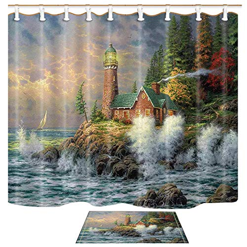 Shocur Lighthouse Shower Curtain Set, Coast Waves and Cape Tower Cabin, Bathroom Decor Polyester Fabric 69 x 70 Inches Nature Theme Bath Curtain with 12 Hooks and Non-Slip 40 x 60cm Bath Mat