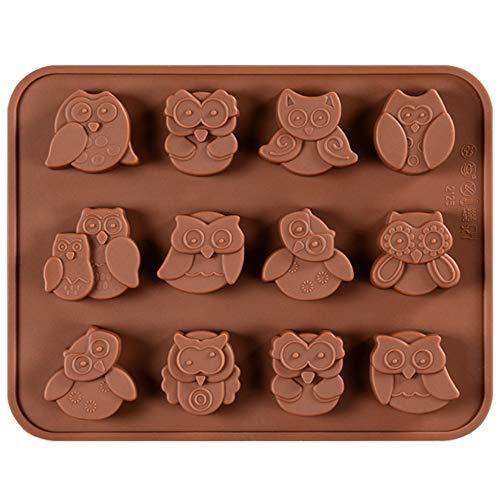 Generies 12 Hohlraum Eule Form Schokolade Silikonform Tier Silikon Mousse Kuchenform Eule Mousse Dessert Form Kuchen Dekoration Werkzeuge