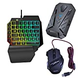 OVBBESS 3 en 1 Gaming Keyboard Mouse Converter Combo para Smartphone PC PUBG Mobile Game Accesorios