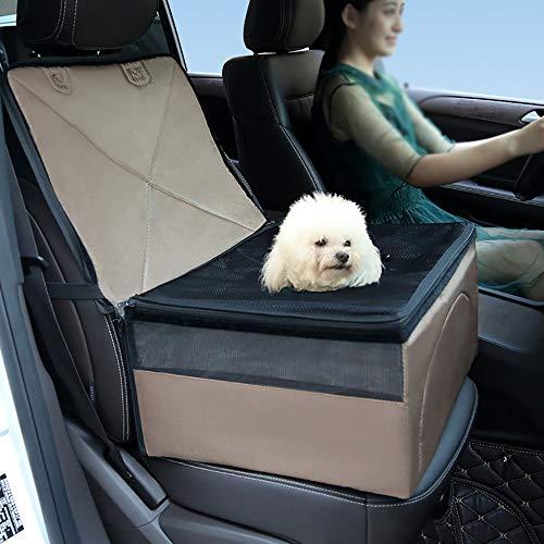 Hunde Autositz, Hund Autositz Wasserdichtes Breathable Haustier-Autositz Tragbare Reise-Auto-Fördermaschine-Tasche für Haustie (Braun)