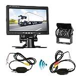 Wireless Backup Camera System with 4.3'' LCD Monitor Kit for Car/SUV/Truck/Pickup/Van/Camper 12V-24V Rear View Camera IP68 Waterproof 18 LED IR Lights Night Vision