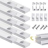 Perfil de Aluminio, DazSpirit 10 Pack 1M/3,3ft U Forma, Cubierta de difusor blanco lechoso, Los Casquillos de Extremo y los Clips de Montaje del Metal (Tiras de LED/cinta de hasta 12,2 mm incl.)