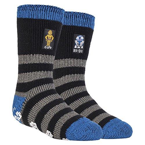 HEAT HOLDERS - Les hommes et les garçons Disney Star Wars chaussettes anti-dérapantes thermiques bouchon chaussettes dans 3 designs (31-36 Eur, 12-3 UK, R2-D2 / C3-P0)