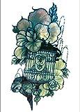 Hoja Verde Jaula De Pájaros Diseños De Pegatinas De Tatuajes Temporales Impermeable Semi Permanente Festival De Brillo Extraíble Para Niños Mujer Body Art 21X15Cm 5 Pcs