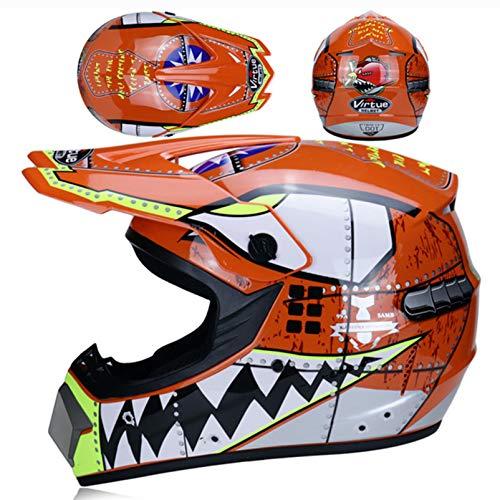 SHGK Casco de Motocross para niños, Certificado para jóvenes, Quad Crash DH,...