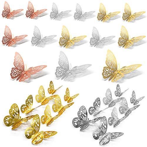 Anyasen 60 piezas Mariposa Decorativas 3D Pegatina de Pared de Adhesivos Paredes Decoración de Mariposas de Papel Pegatinas de Pared Adornos Pared Decoración para Hogar Decoracion, Oro/Plata/Oro Rosa