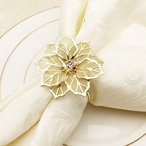 NAGU Flower Napkin Rings Set of 6, Hollow Out Floral Napkin Holder Adornment Exquisite Household Napkins Rings Set Rhinestone Napkin Rings for Wedding Banquet Christmas Table Setting (Gold)