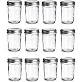 PremiumVials 12 pcs 8 oz Mason Jars with Silver Lids for Jam, Honey, Wedding Favors, Shower Favors, Baby Foods, Canning, spices, Half Pint