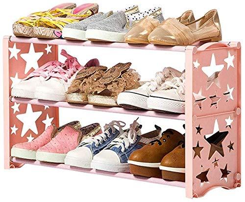 Schoenenorganizer voor schoenen, kunststof, smal, voor meisjes, badkamer, slaapkamer, uittrekbaar, voor jongens, schoenen B Roze
