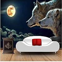 Iusasdz 3Dステレオ月光オオカミ壁紙リビングルームの家の装飾のための壁画写真壁紙フレスコパラ3D-400X280Cm