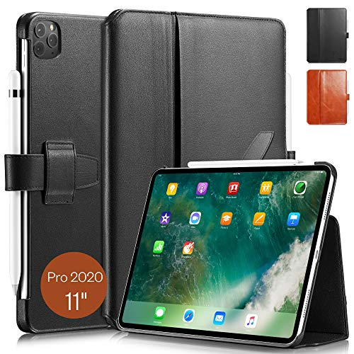 KAVAJ Case Leather Cover London works with Apple iPad Pro 11' 2020 Black Genuine Cowhide Leather with Pencil Holder Supports Apple Pencil Slim Fit Smart Folio