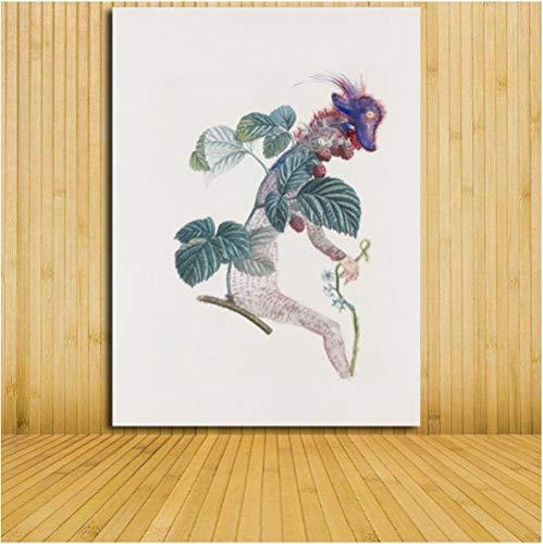 Jwqing Framboisier a Fruit Rouge Malerei Leinwand Kunstdruck Malerei Poster Wandbilder abstrakte Porträt Dekoration Wanddekoration (50x70cm kein Rahmen)