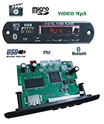 AS TECHNOLOGIES Mp5 Bluetooth FM USB AUX Card Stereo Audio Video Player Decoder Module Kit with Remote