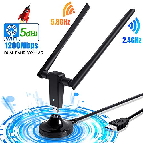 PiAEK WiFi Adattatore Antenna WiFi USB Ricevitore Wireless Chiavetta WiFi Dongle con Dual Band 5G/2.4G Staccabile 5dBi Rete di Antenne per Windows7/8/10/XP/VISTA/Linux