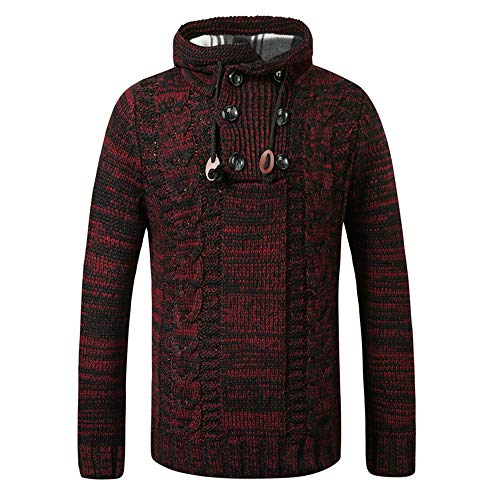 SALEBLOUSE 2020 Autumn and Winter New Mens Casual Comfortable Fashion Hollow Thickened Fleece Warm Knitted Cotton Young And Middle-Aged Long Sleeve Hooded Twist Knitted Sweater Hoodie Pullover
