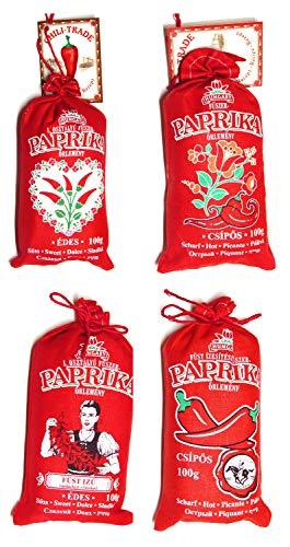 Ungarische Paprika Süß/Scharf/Geräuchert (Herkunft: Kalocsa, Ungarn) (Alle 4 Geschmack, 4x100g)