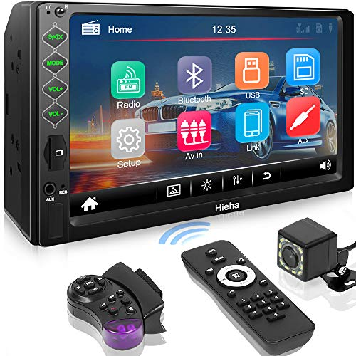 """Hieha Double Din Car Stereo with Bluetooth, 7"""" HD Touch Screen Car Radio with Backup Camera, USB-to iOS Android Phone Mirror Link Supports GPS, Call Answering, FM, Music, Video Upgrade Version"""