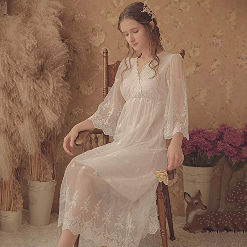 HUANSUN Frauen zweiteilig Nachthemd Spitze V-Ausschnitt Nachthemd Weibliche Prinzessin Schlafkleid, Weiß, L.