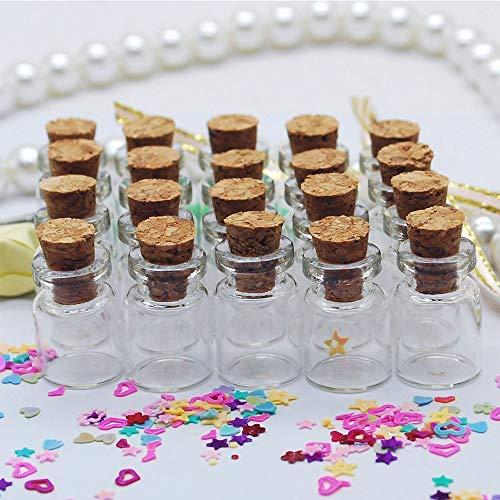 Naisidier 50 pcs 0.5 ML Taille 11 x 18 x 6 mm Petit Pots Mini Bouteilles en Verre avec Bouchons