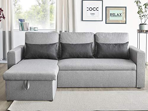 Canapé d'angle 3 places Gris Tissu Confort