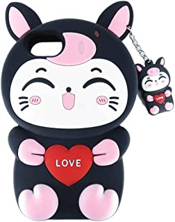 DiDicose 3D Cute Cartoon Love Pig Smile Cat Black Silicone Rubber Phone Case Cover for iPhone 6 / 6S / 7/8 (4.7