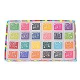 Con estuche de almacenamiento para manualidades, 24 colores, almohadilla de sello, almohadilla de sello, almohadilla de tinta, libro de recortes, decoración
