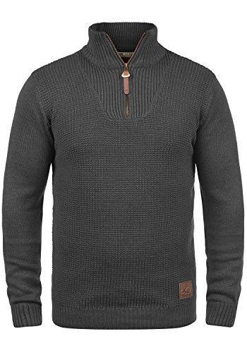!Solid Tommy Jersey Suéter Troyer para Hombre con Cuello Alto con Cremallera, tamaño:S, Color:Dark Grey Melange (8288)