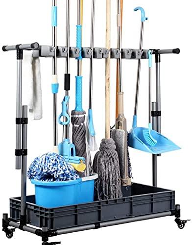 Besen-Mopphalter, Nass-Mops-Boden stehend beweglich bodenmontiertes Mopp-Rack-Reinigungswerkzeug, Aufbewahrungs-Hänge-Mopp-Speicher-Tool