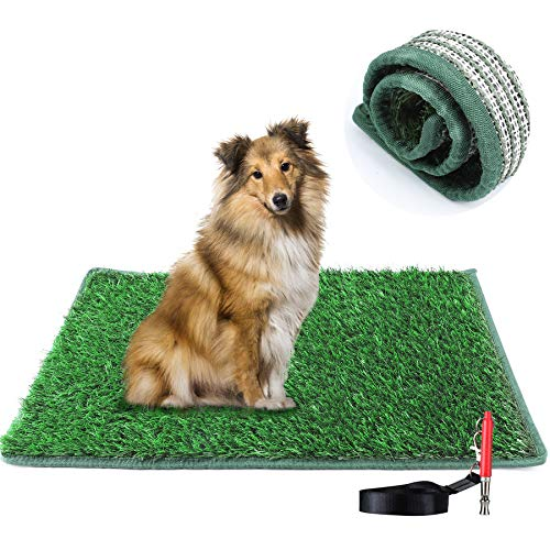 TSIANHUZY Dog Grass Pad Hemming Design, Artificial Turf Grass Dog Pee Pad, Washable Replacement Grass Mats Training for Indoor Outdoor Use - with a Dog Whistle