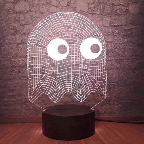 Juego PAC-Man 3D luz nocturna, lámpara de ilusiones con control remoto, 16 colores cambiantes USB LED lámpara de escritorio decoración para niños Navidad Halloween cumpleaños
